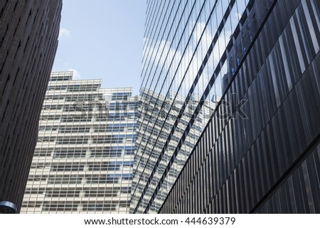 NEW YORK - July 2: Exterior glass facade of One World Trade Center, Manhattan, New York. July 2, 2015 in New York.