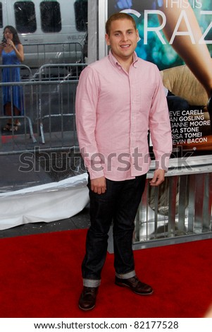 "NEW YORK - JULY 19: Jonah Hill attends the world movie premiere of ""Crazy Stupid Love"" at the Ziegfeld Theatre on July 19, 2011 in New York City. - stock photo"
