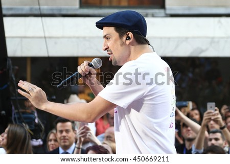 NEW YORK-JULY 11: Lin-Manuel Miranda performs onstage at NBC's Today Show at Rockefeller Plaza on July 11, 2016 in New York City. - stock photo