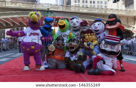 NEW YORK - JULY 16: MLB teams mascots pose on red carpet during the MLB All-Star Game Red Carpet Show along 42nd street on July 16, 2013 in New York - stock photo