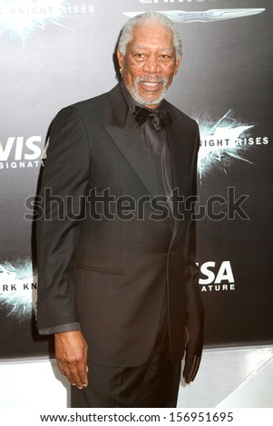 """NEW YORK - JULY 16: Morgan Freeman attends the premiere of """"The Dark Knight Rises"""" at AMC Lincoln Square Theater on July 16, 2012 in New York City. - stock photo"""