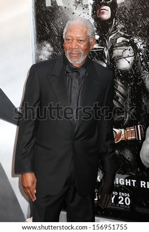 "NEW YORK - JULY 16: Morgan Freeman attends the premiere of ""The Dark Knight Rises"" at AMC Lincoln Square Theater on July 16, 2012 in New York City. - stock photo"