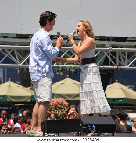 NEW YORK - July 17: Paul Shaefer and Elizabeth Loyacano performed in Phantom of the Opera - The Broadway at Bryant Park in NYC - a free public event on July 17, 2008 - stock photo