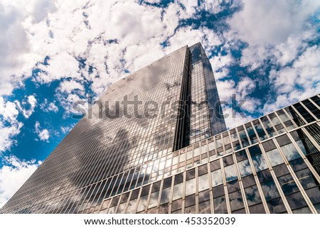 NEW YORK - 15 JULY 2016: Penn Plaza was designed by Kahn & Jacobs and completed in 1972. It reaches 750 feet (230 m) with 57 floors. - stock photo