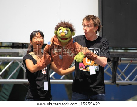 NEW YORK - JULY 17: Sala Iwamatsu and Christian Anderson Performed in the Avenue Q - The Broadway at Bryant Park in NYC - a free public event on July 17, 2008 - stock photo