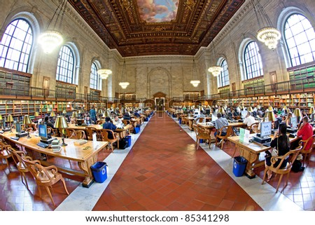 NEW YORK - JULY 10: The New York Public Library (NYPL) is the largest public library in North America and is one of the United States' most significant research libraries on July 10, 2010 in New York. - stock photo