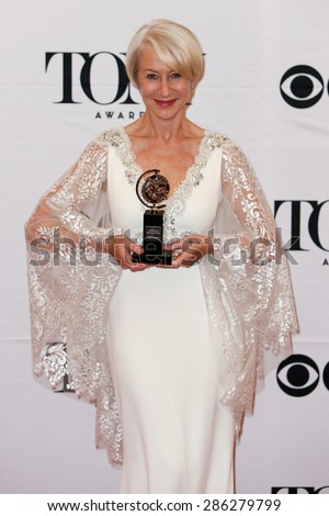 NEW YORK-JUN 7: Actress Helen Mirren holds the trophy for Best Lead Actress in a Play at the American Theatre Wing's 69th Annual Tony Awards at Radio City Music Hall on June 7, 2015 in New York City. - stock photo