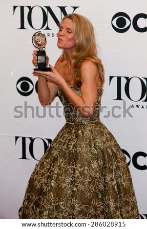 NEW YORK-JUN 7: Actress Kelli O'Hara holds her trophy at the American Theatre Wing's 69th Annual Tony Awards at Radio City Music Hall on June 7, 2015 in New York City. - stock photo