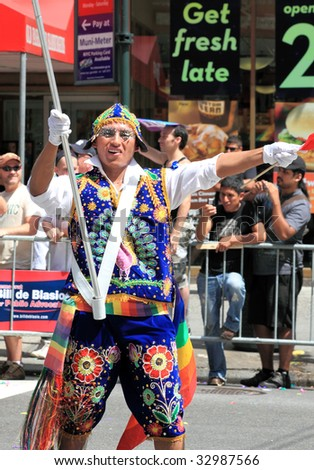 NEW YORK - JUNE 28: A parade goer participates in the NYC LGBT Gay Pride March on June 28, 2009 in New York.