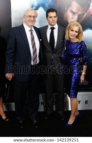 "NEW YORK-JUNE 10: Actor Henry Cavill (C) with parents Colin (L) and Marianne attend the world premiere of ""Man of Steel"" at Alice Tully Hall at Lincoln Center on June 10, 2013 in New York City.  - stock photo"