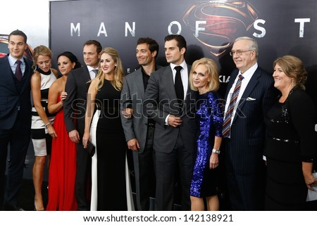 "NEW YORK-JUNE 10: Actor Henry Cavill (center) attends the world premiere of ""Man of Steel"" at Alice Tully Hall at Lincoln Center on June 10, 2013 in New York City.  - stock photo"
