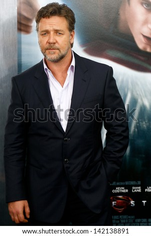 """NEW YORK-JUNE 10: Actor Russell Crowe attends the world premiere of """"Man of Steel"""" at Alice Tully Hall at Lincoln Center on June 10, 2013 in New York City.  - stock photo"""