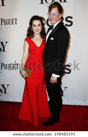 NEW YORK-JUNE 8: Actress Lauren Worsham (L) and husband Kyle Jarrow attend American Theatre Wing's 68th Annual Tony Awards at Radio City Music Hall on June 8, 2014 in New York City. - stock photo