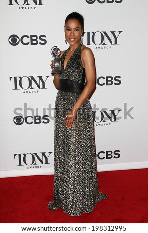 NEW YORK-JUNE 8: Actress Sophie Okonedo poses in the press room at the American Theatre Wing's 68th Annual Tony Awards at Radio City Music Hall on June 8, 2014 in New York City. - stock photo