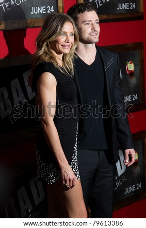 """NEW YORK - JUNE 20: Cameron Diaz and Justin Timberlake attend the premiere of """"Bad Teacher"""" at the Ziegfeld Theatre on June 20, 2011 in New York City, NY - stock photo"""