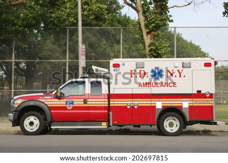 NEW YORK - JUNE 28: FDNY Ambulance in Brooklyn on June 28, 2014. FDNY is the largest combined Fire and EMS provider in the world  - stock photo