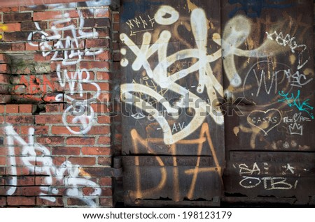 NEW YORK - JUNE 8: graffiti on June 8, 2014 in New York. Graffiti originating in the NYC Subway and spread beyond; it is both vandalism and an art form. - stock photo