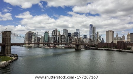 NEW YORK - JUNE 6: Manhattan Skyline on June 6, 2014 in New York. Manhattan is the smallest yet most populous of New York's five boroughs. - stock photo