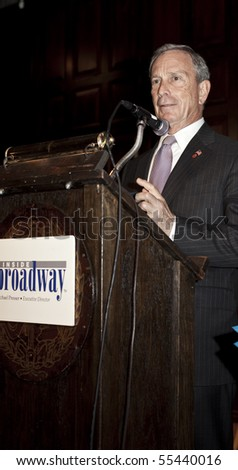 NEW YORK - JUNE 17: Mayor Michael Bloomberg speaks Inside Broadway 2010 Beacon Awards at Players Club on June 17, 2010 in New York City. - stock photo
