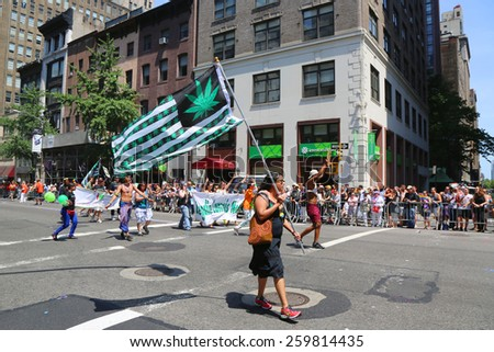 NEW YORK - June 29, 2014: Medical marijuana supporter during LGBT Pride Parade in New York City