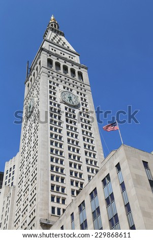 NEW YORK - JUNE 29: Met Life Tower with iconic clock in Manhattan on  June 29, 2014. Clock face is 26.5 feet (8 m) in diameter with each number being four feet (1.2 m) tall.  - stock photo