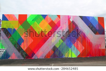 NEW YORK - JUNE 4, 2015: Mural art at new street art attraction Coney Art Walls at Coney Island section in Brooklyn.