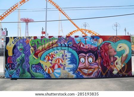 NEW YORK - JUNE 7, 2015: Mural art at new street art attraction Coney Art Walls at Coney Island section in Brooklyn