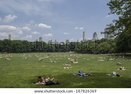 New York, June 27, 2010 - People relaxing on the green grass of Central Park on a Sunday afternoon. USA, New York, June 27, 2010 - stock photo