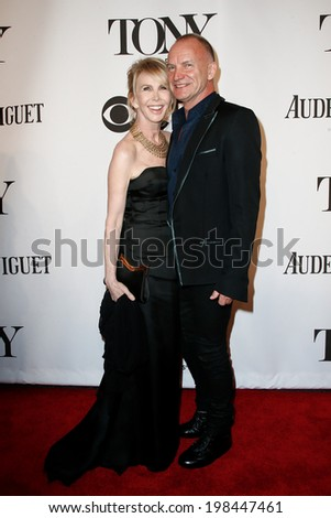 NEW YORK-JUNE 8: Recording artist Sting (R) and wife Trudie Styler attend American Theatre Wing's 68th Annual Tony Awards at Radio City Music Hall on June 8, 2014 in New York City. - stock photo