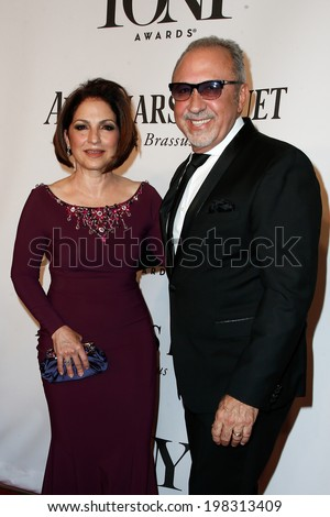 NEW YORK-JUNE 8: Singer Gloria Estefan (L) and husband Emilio Estefan attend American Theatre Wing's 68th Annual Tony Awards at Radio City Music Hall on June 8, 2014 in New York City. - stock photo