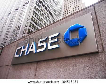 NEW YORK, JUNE 4: The Chase bank sign at One Chase Manhattan Plaza in New York City, June 4, 2012.  - stock photo