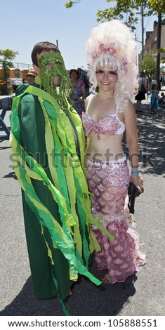 NEW YORK - JUNE 23: Unidentified participants attend 30th annual Mermaid parade on Coney Island in Brooklyn on June 23, 2012 in New York City.