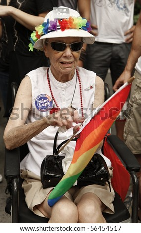 NEW YORK - JUNE 27: Unidentified senior participants attend the 2010 New York City Gay Pride March on the streets of Manhattan on June 27, 2010 in New York City.