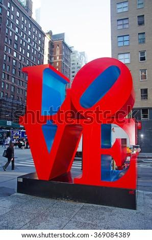 New York: Love sculpture  on September 14, 2014. Love sculpture is an iconic Pop Art work by american artist Robert Indiana - stock photo