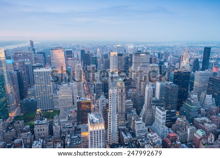 New York. Manhattan aerial skyline at dusk. - stock photo