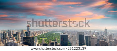 New York. Manhattan at sunset with Central Park aerial view. - stock photo