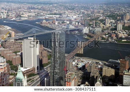 New York, Manhattan, bridges and Hudson River, view from One World Observatory's 100 floor - stock photo