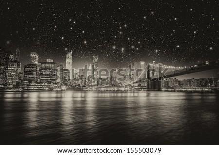 New York. Manhattan skyline at night. - stock photo