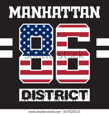 New York Manhattan typography with american flag. Sport fashion graphics. NYC original wear. T-shirt Printing Design for sportswear apparel. Concept in vintage style for print production.