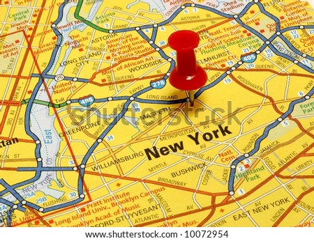 New York map with push pin - stock photo
