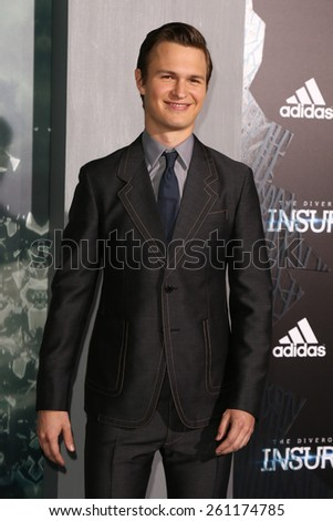 "NEW YORK-MAR 16: Actor Ansel Elgort attends the U.S. premiere of ""The Divergent Series: Insurgent"" at the Ziegfeld Theatre on March 16, 2015 in New York City. - stock photo"