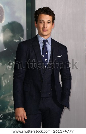 "NEW YORK-MAR 16: Actor Miles Teller attends the U.S. premiere of ""The Divergent Series: Insurgent"" at the Ziegfeld Theatre on March 16, 2015 in New York City. - stock photo"