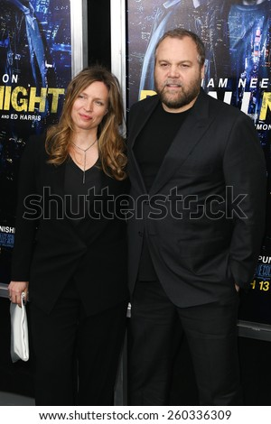 """NEW YORK-MAR 9: Actors Carin van der Donk (L) and Vincent D'Onofrio attend the premiere of """"Run All Night"""" at AMC Loews Lincoln Square on March 9, 2015 in New York City. - stock photo"""