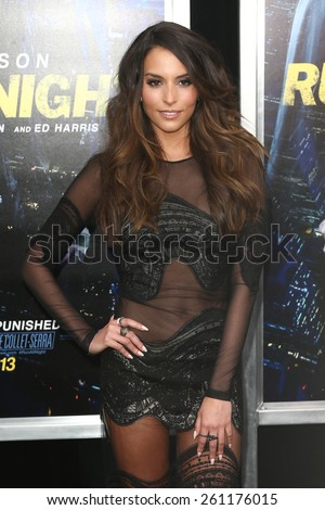 "NEW YORK-MAR 9: Actress Genesis Rodriguez attends the premiere of ""Run All Night"" at AMC Loews Lincoln Square on March 9, 2015 in New York City. - stock photo"