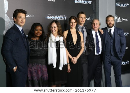 "NEW YORK-MAR 16:Miles Teller, Octavia Spencer, Lucy Fisher, Shailene Woodley, Ansel Elgort, Douglas Wick & Jai Courtney at ""The Divergent Series: Insurgent"" premiere on March 16, 2015 in New York City. - stock photo"