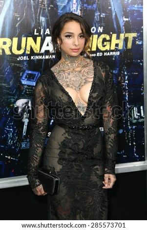 "NEW YORK-MAR 9: Tattoo artist/model Cleo Wattenstrom attends the premiere of ""Run All Night"" at AMC Loews Lincoln Square on March 9, 2015 in New York City. - stock photo"