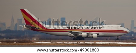 NEW YORK - MARCH 1: A Boeing 747-400 Kalitta  Cargo departing form JFK Airport Runway 4R on March 1, 2010 in New York