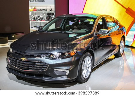 NEW YORK - MARCH 23: A Chevrolet Malibu at the 2016 New York International Auto Show during Press day,  public show is running from March 25th through April 3, 2016 in New York, NY. - stock photo