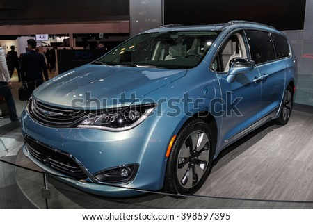 NEW YORK - MARCH 23: A Chrysler Pacifica 2017 at the 2016 New York International Auto Show during Press day,  public show is running from March 25th through April 3, 2016 in New York, NY. - stock photo