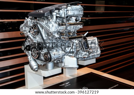 NEW YORK - March 23: A Genesis 3.8L V6 engine exhibit at the 2016 New York International Auto Show during Press day,  public show is running from March 25th through April 3, 2016 in New York, NY. - stock photo